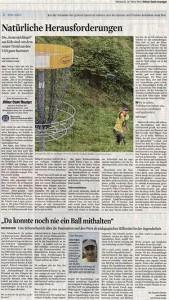 Zeitungsartikel Disc Golf